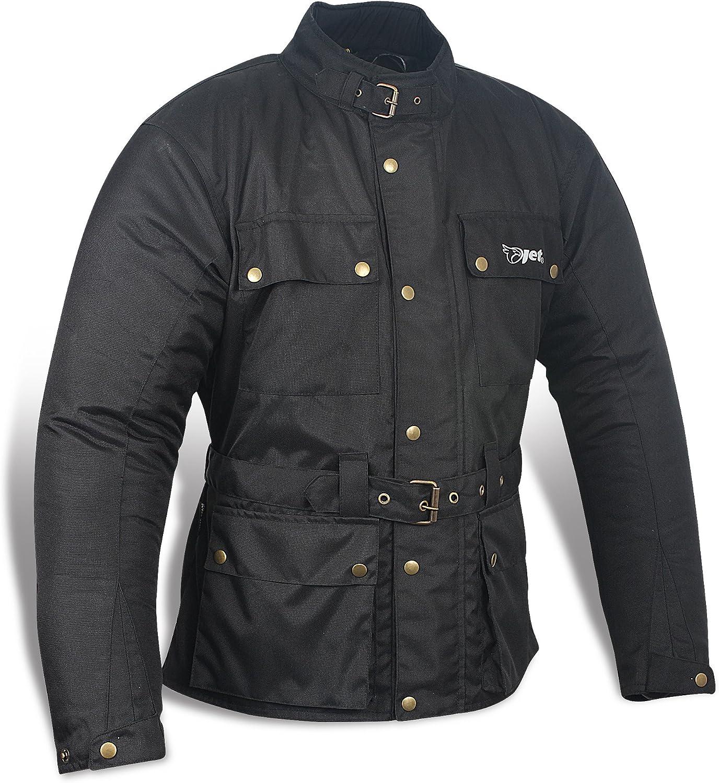 JET Chaqueta Moto Hombre Impermeable Textil con Armadura Vintage Retro Clásico (M (EU 48-50), Negro)