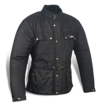 JET Chaqueta Moto Hombre Impermeable Textil con Armadura Vintage Retro Clásico (L (EU 50-52), Negro)