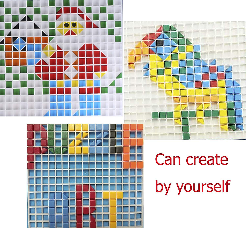 Mosaico Bambini Mattoncini Costruzioni Gioco Puzzle Pegboard Giocattolo Regalo DIY Puzzle per Bambino Ragazza Ragazzo 3 4 5 Anni 490pcs