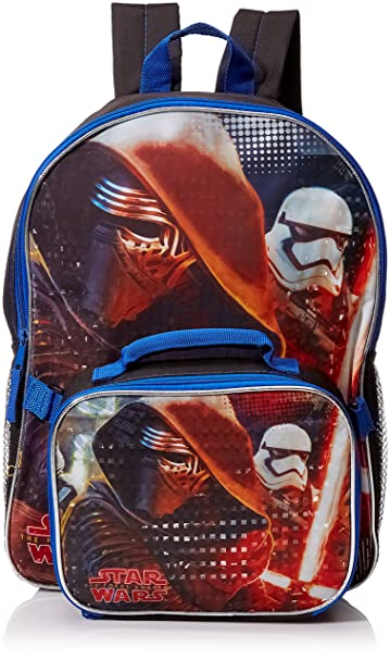 ec29a84ddf Amazon.com  Backpack - Star Wars Ep7 - 16 Kylo Ren w Lunch Bag New SW16B   Clothing