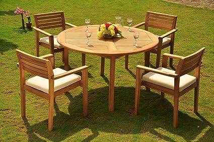 52 Round Table.Amazon Com Wholesaleteak New 5 Pc Luxurious Grade A Teak Dining