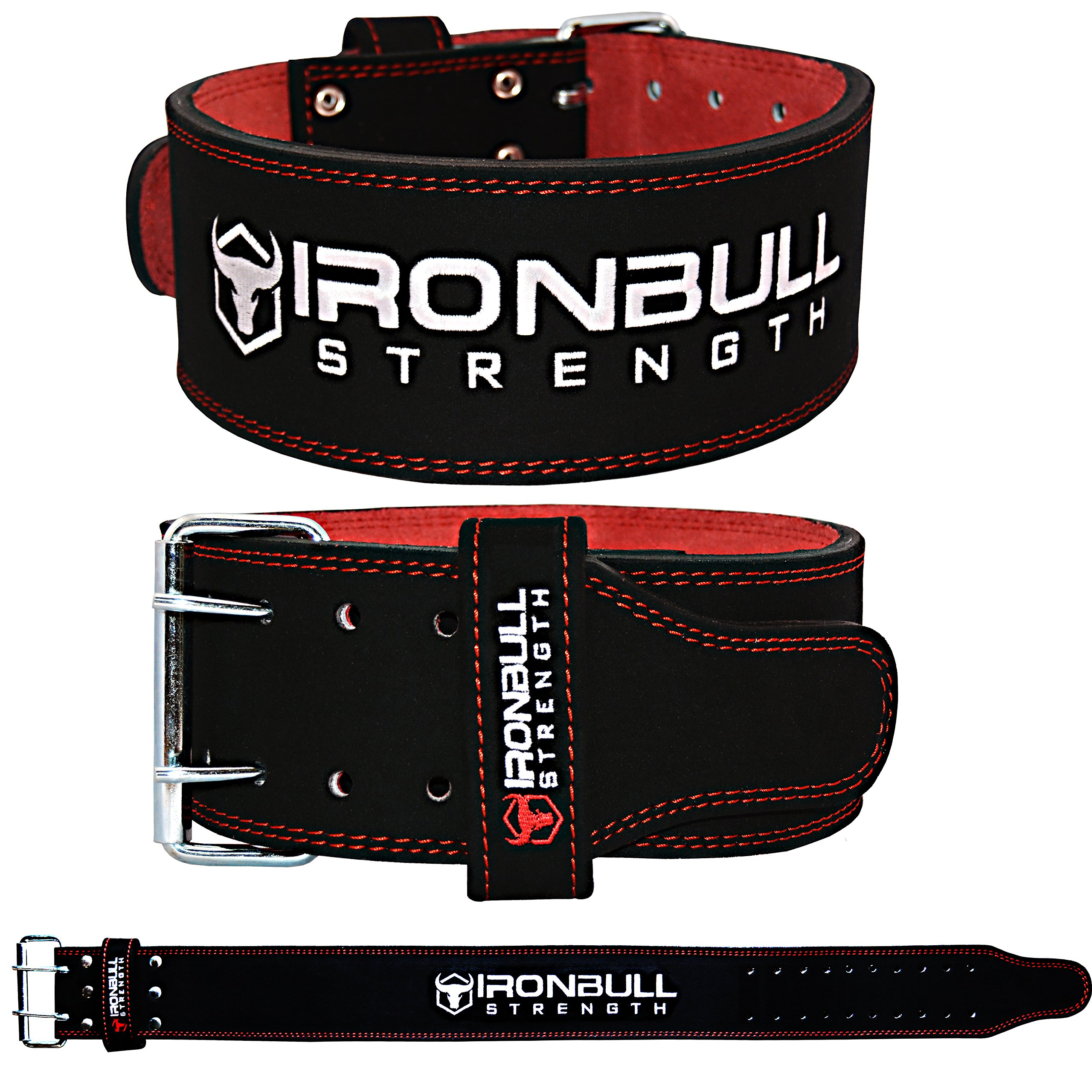 Iron Bull Strength Powerlifting Belt/Weight Lifting Belt - 10mm Double Prong - 4-inch Wide - Advanced Back Support for Weightlifting and Heavy Power Lifting by Iron Bull Strength (Image #3)