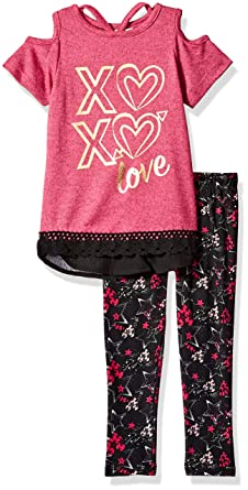 e53ab14e35547 Dreamstar Girls' Cold Shoulder Top W/Printed Leggings Set,: Amazon.in:  Clothing & Accessories