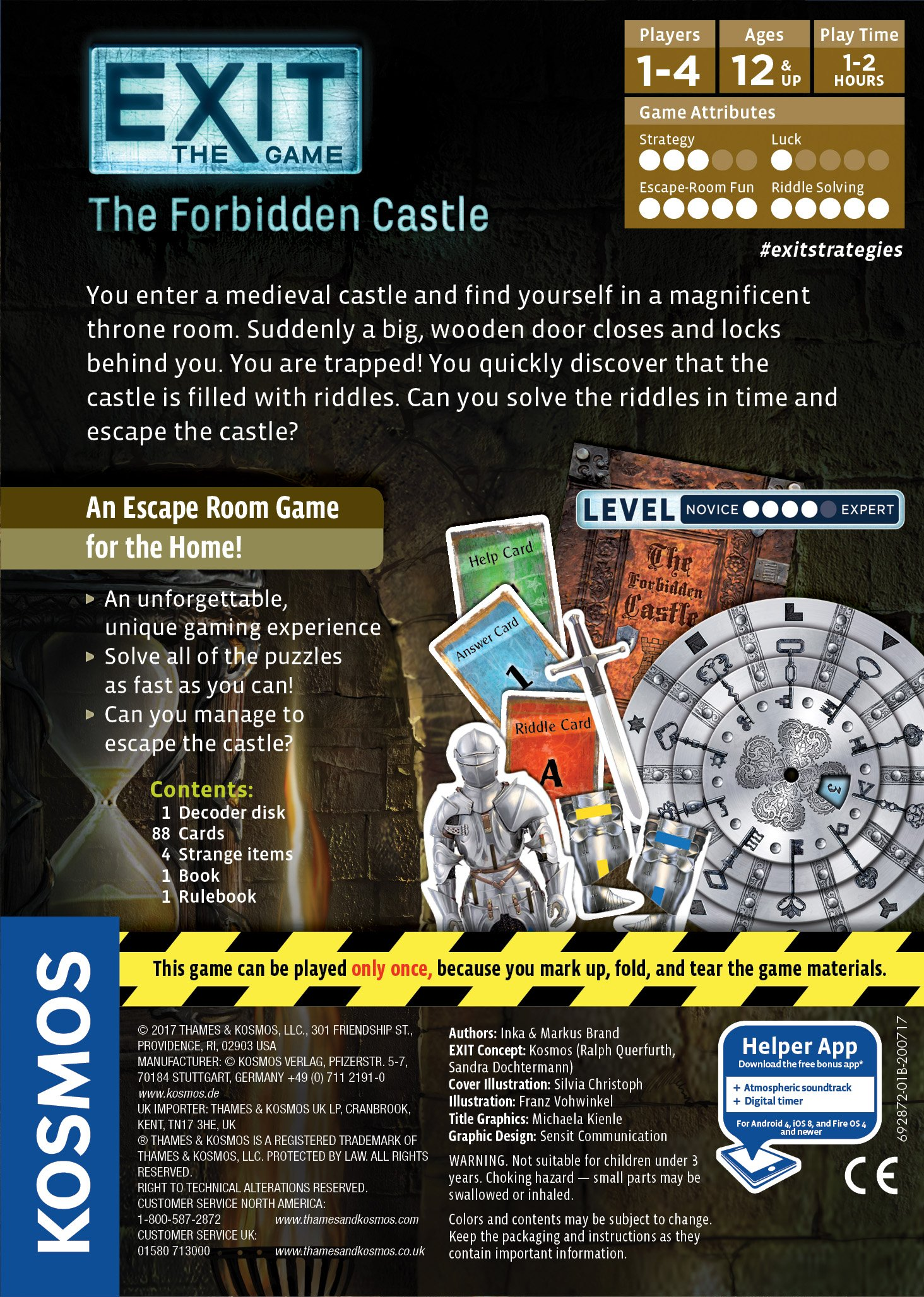 Exit: The Forbidden Castle | Exit: The Game - A Kosmos Game | Family-Friendly, Card-Based at-Home Escape Room Experience for 1 to 4 Players, Ages 12+
