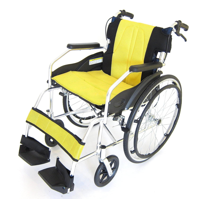 アルミ製自走式車椅子 チャップスDB 全10色 ドラムブレーキ 軽量 自走式 アルミ 車椅子 ノーパンクタイヤ 駐車&介助ブレーキ付き 折りたたみ式 背折れ 車イス 介助用 A101-DBB (ハワイアンイエロー) B00MXL7QL0