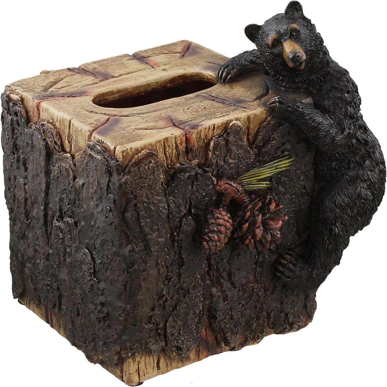 Decorative Black Bear / Pinecone Rustic Square Tissue Box Cover