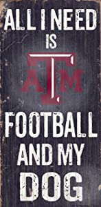 """Fan Creations Texas AM Aggies Wood Sign - Football and Dog 6""""x12"""""""