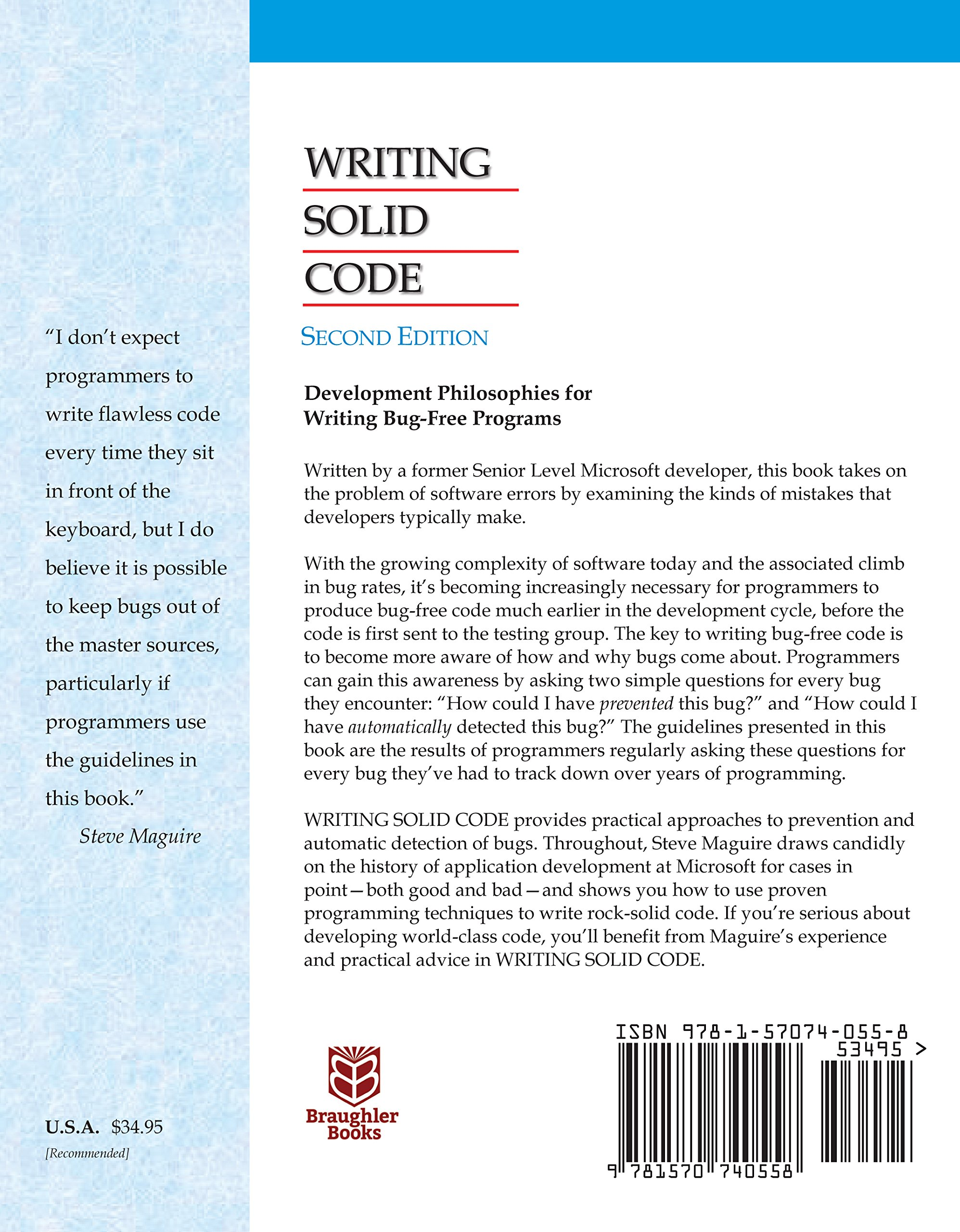 Writing Solid Code (20th Anniversary 2nd Edition): Steve Maguire:  9781570740558: Amazon.com: Books