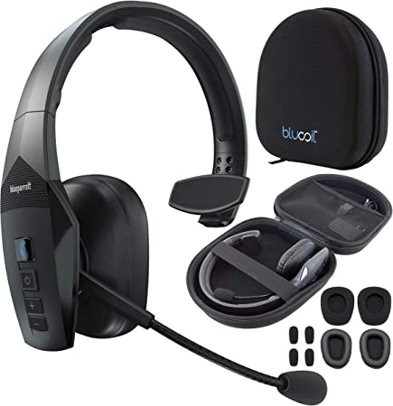 Amazon Com Blueparrott B550 Xt Noise Canceling Bluetooth Headset With 300 Ft Wireless Range For Ios Android Windows And Mac Bundle With Blucoil Headphones Carrying Case And Replacement Ear Pads Home Audio Theater