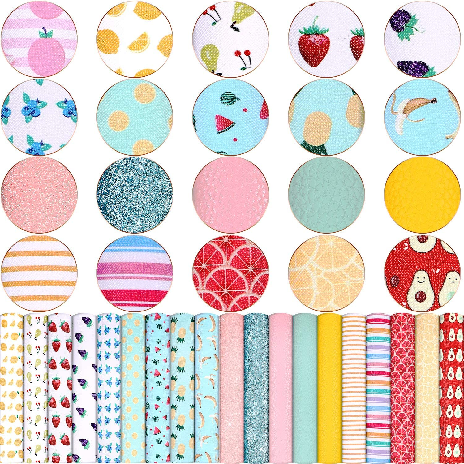 8.3 x 6.3 Inch 20 Pieces Fruit Printed Faux Leather Sheets Fruit Pattern Glitter Artificial Leather Sheets Colorful PU Faux Leather Fabric Sheet for DIY Earrings Hair Bows and Craft Making