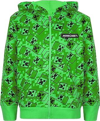 Vanilla Underground Minecraft Creeper Boys Green Zip Up Sudadera con Capucha Ni/ños