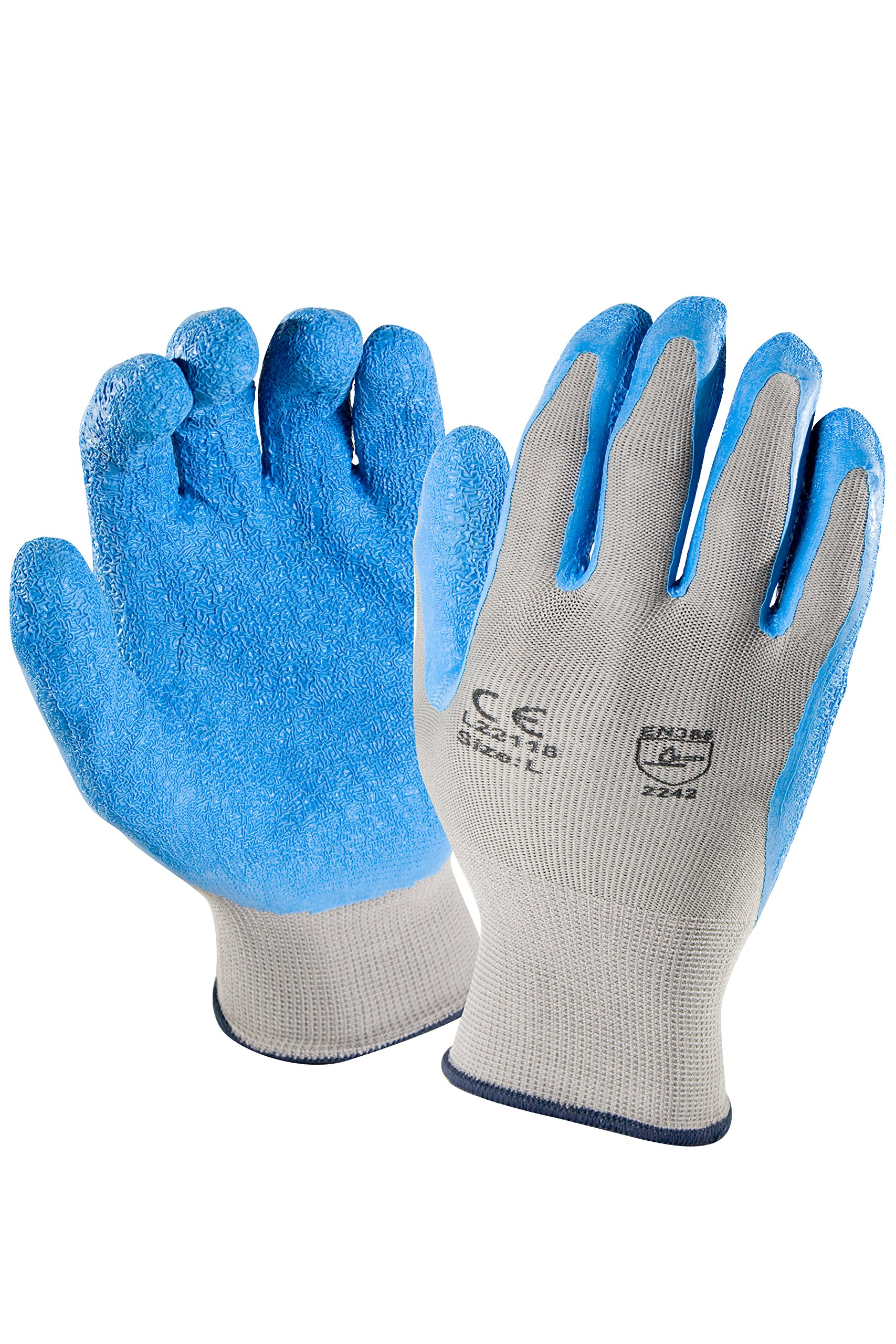 Azusa Safety L22118 13 gauge Knit Nylon Work Safety Gloves, Latex Coated Textured Crinkle Finish X-Large 10'', Blue/Gray (Pack of 12 pairs) by Azusa Safety