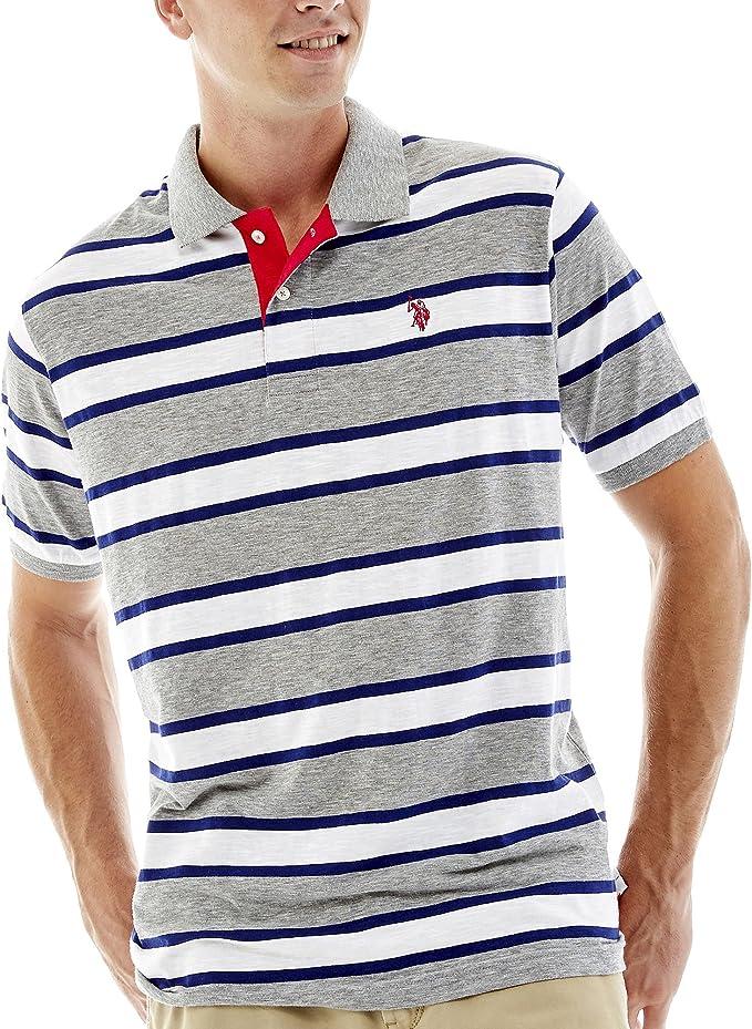 Polo Assn U.S Mens Striped Short Sleeve Classic Fit Slub Shirt