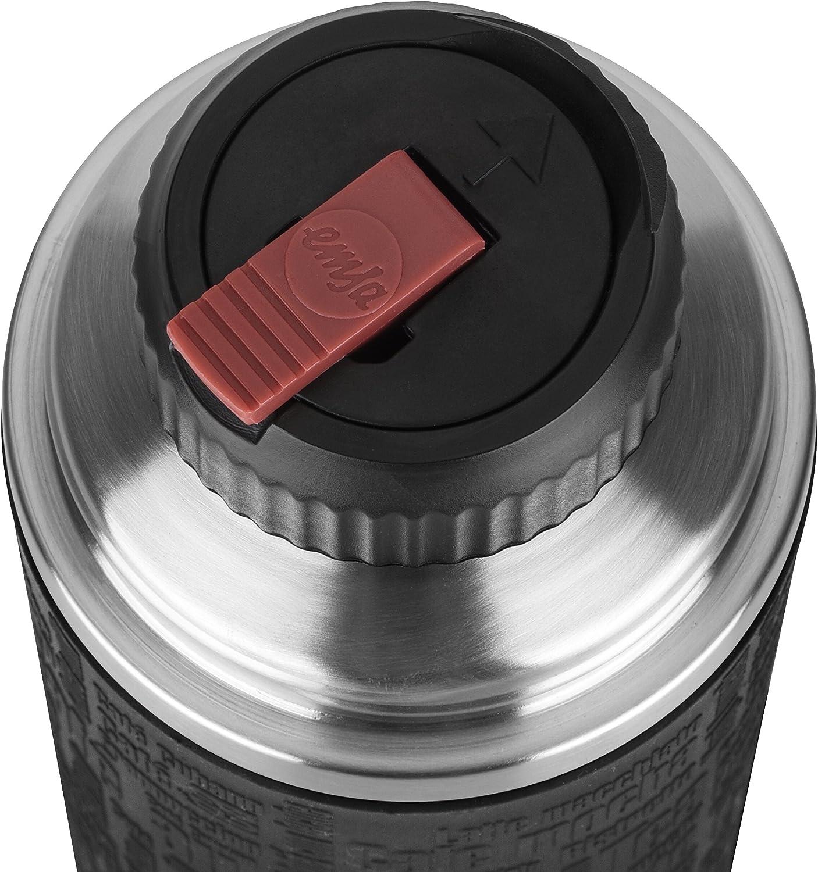 1 L Emsa Senator Sleeve 515714 Termo con Taza Integrada Plateado//Negro Acero Inoxidable//Silicona