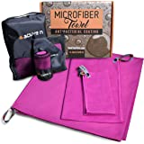 Microfiber Towel Set - 3 pack great for Backpacking Hiking Camping Travel Swimming Beach Bath Compact Super Absorbent & Quick Dry - 4 active n