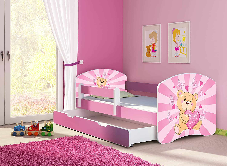 ACMA TODDLER CHILDREN KIDS BED + FREE MATTRESS DRAWER II PINK140x70 160x80 180x80 (10 Teddy bear, 140x70 cm + Drawer)
