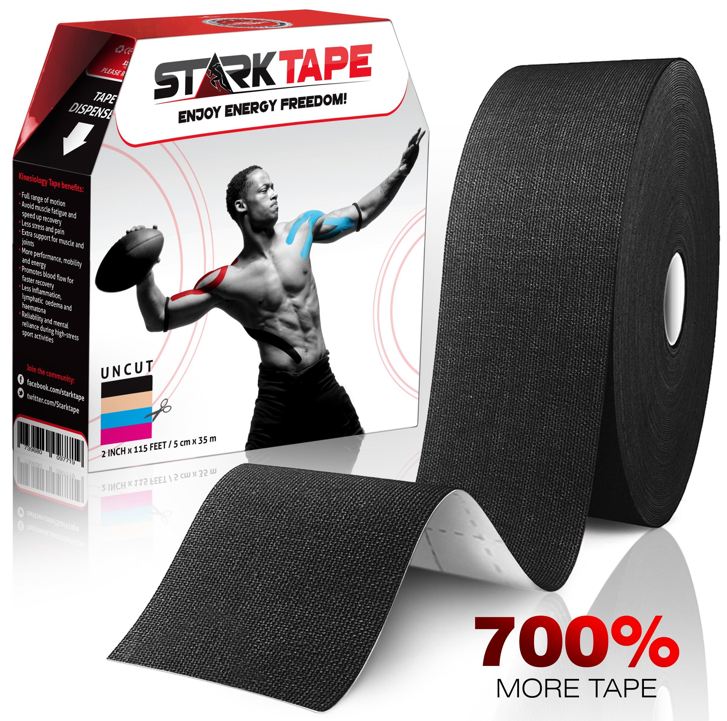 StarkTape Kinesiology Tape for Athletes. Knee Taping, Sports Injuries Tape Ankle Shoulder Wrist Muscle. Sticky Waterproof Latex Free Adhesive. (Black bulk, 5 cm x 35 m)