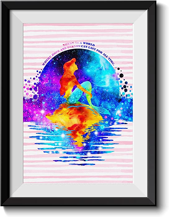 Uhomate Princess Ariel The Little Mermaid Home Canvas Prints Wall Art Inspirational Quotes Wall Decor Living Room Bedroom Bathroom Artwork C033 (8X10)