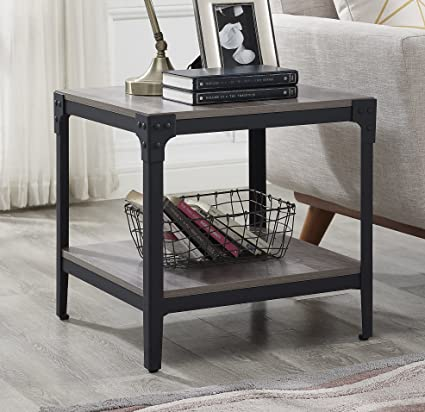 WE Furniture Angle Iron Wood End Tables In Grey Wash   Set Of 2