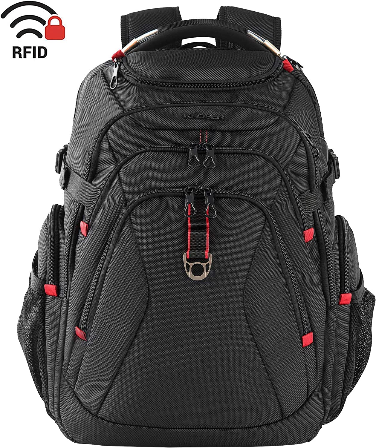 KROSER Travel Laptop Backpack 17.3 Inch XL Heavy Duty Computer Backpack with Hard Shelled Saferoom RFID Pockets Water-Repellent Business College Daypack Stylish School Laptop Bag for Men Women-Black