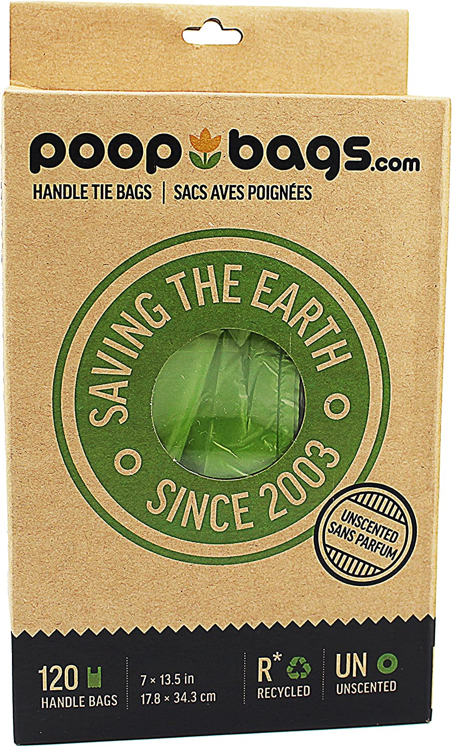 PoopBags Recycled 7x13 Dog Waste Bags with Handle Ties- 120 Count- Doggie Poop Bags, Eco on a Roll