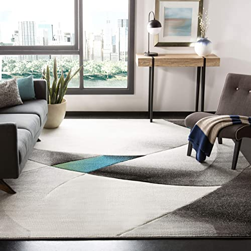 Safavieh Hollywood Collection HLW713D Grey and Teal Mid-Century Modern Abstract Area Rug 8 x 10