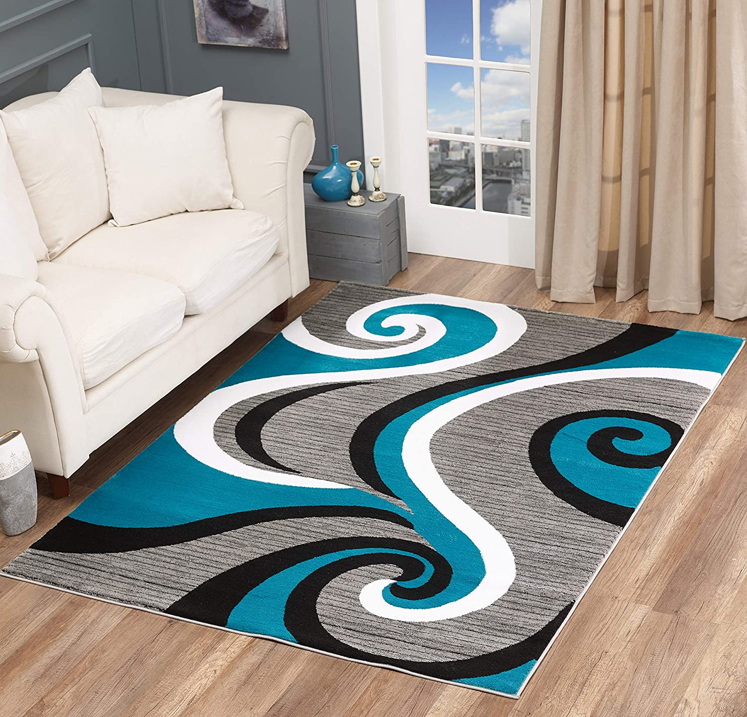 Golden Rugs Modern Area Rug Swirls Carpet Bedroom Living Room Contemporary Dining Accent Sevilla Collection 4817 (4x6, Turquoise)