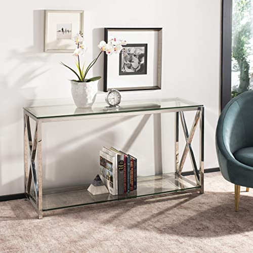 Safavieh Home Collection Hayward Chrome Glass Top Couture Console Table