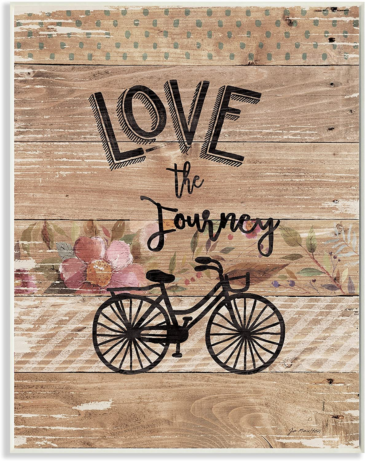 Stupell Industries Enjoy the Journey Bicycle and Flowers Wall Plaque, 10 x 15, Multi-Color