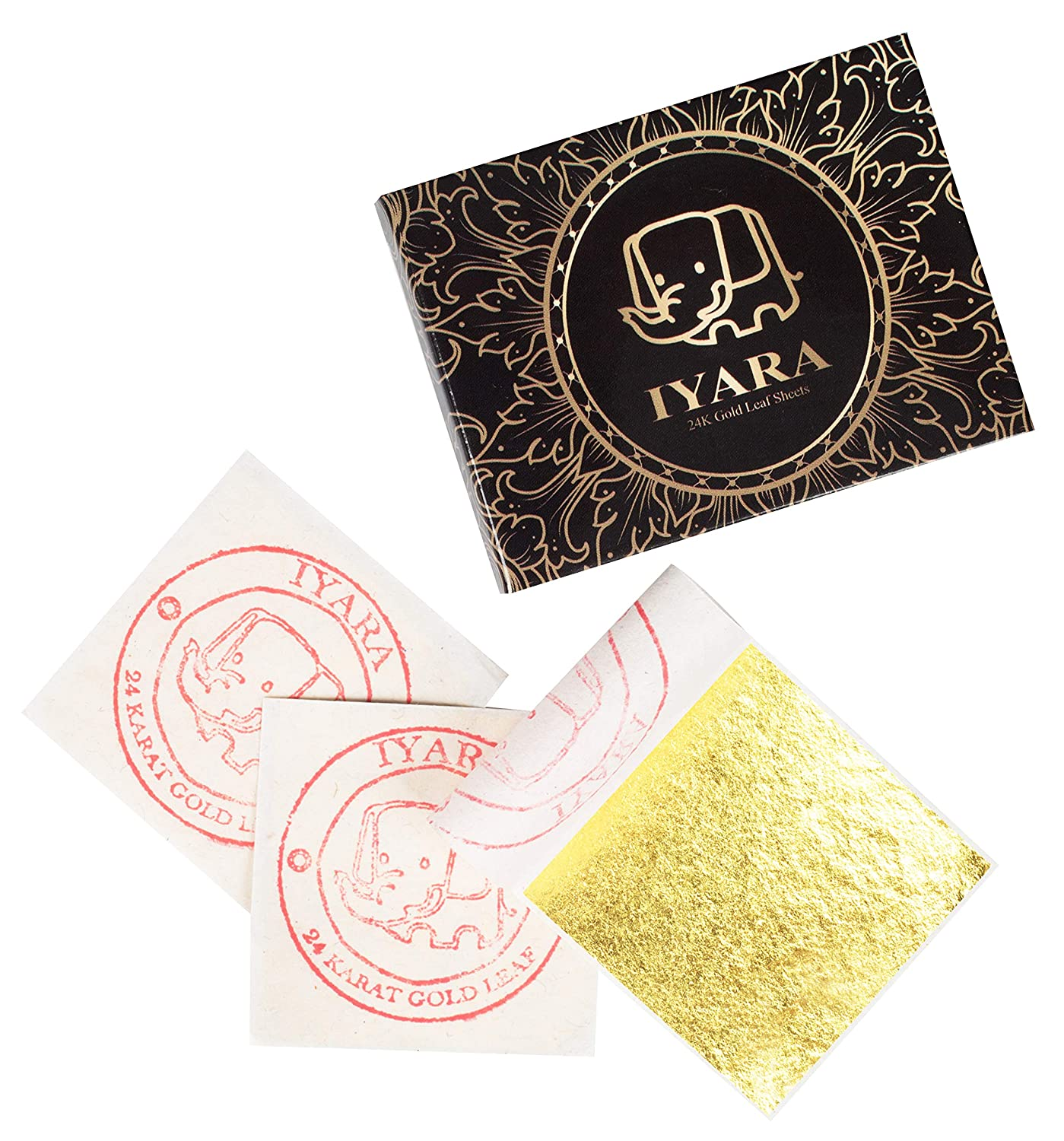 24K Edible Gold Leaf 50 Sheets 1.5x1.5 for Cake Decoration and Food, Baking, Art, Crafts IYARA THAILAND