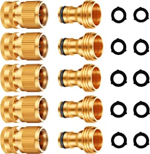 DIRECT MFG Garden Hose Quick Connect 5 Sets - Male and Female GHT Solid Brass Hose Connectors for Garden Hose Fittings - Choose Your Pack (3/4