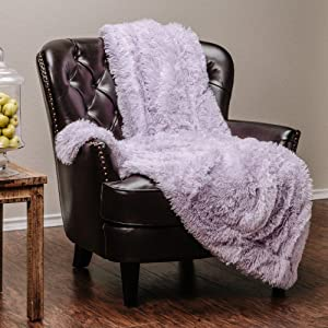 Chanasya Fuzzy Shaggy Faux Fur Throw Blanket - Plush Lightweight Reversible Sherpa Blanket for Couch, Home, Living Room, and Bedroom Décor (60x70 Inches) Light Purple Orchid