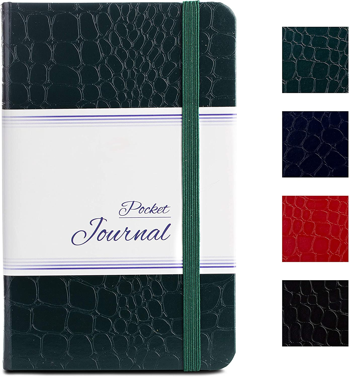 Pocket Notebook | Journal by CAMOLEAF - 3.5 x 5.5 - Small / Mini Size - Hardcover Crocodile Faux Leather Textured - Premium Thick Acid-Free Ivory Paper - Lightly Ruled - (Green)