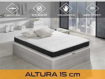 Dormi Premium Basic 15 - Colchón - Colchón Viscoelástico, 160 x 200 x 15 cm, Algodón/Poliuretano, Blanco/Negro, Matrimonio: Amazon.es: Hogar