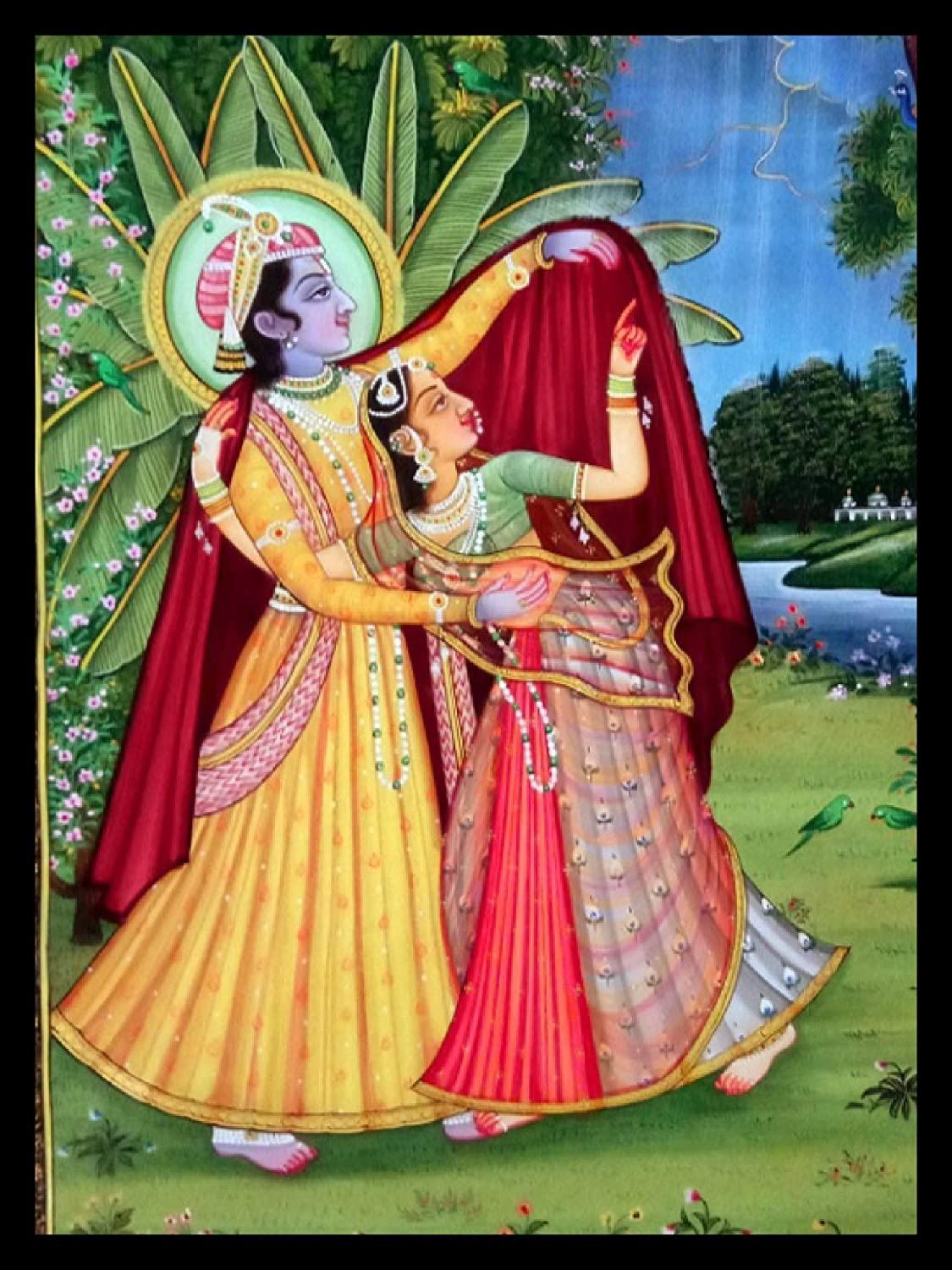 Beautiful Handmade Radha Krishna Romance Painting On Silkdecorate Your Home And Office Walls With These Artistic Designe And Framed From Charu Arts Amazon In Home Kitchen
