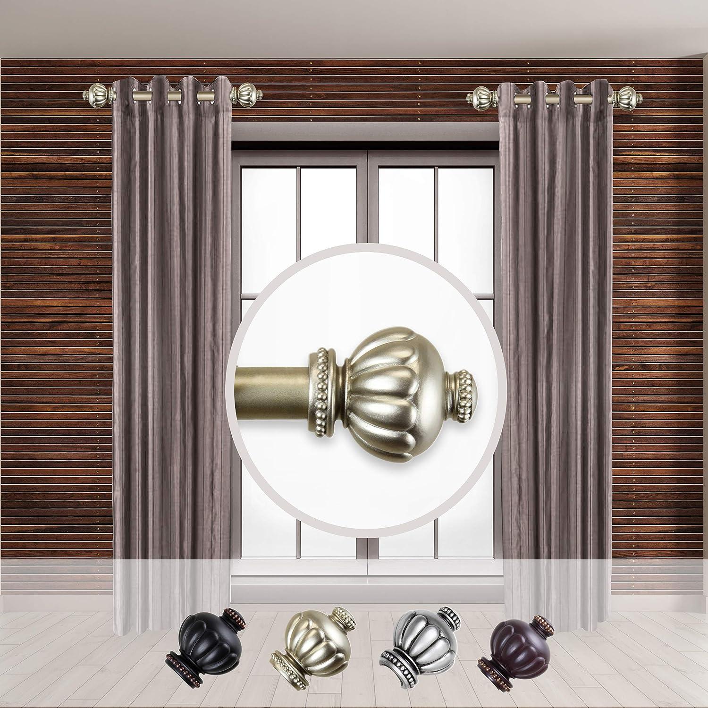 Rod Desyne Selma 1 - inc Dia. Side Curtain Rod 12-20 inch Long, Set of 2 Light Gold