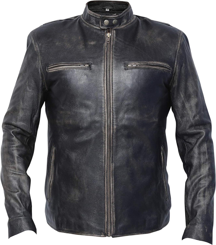Mark Wahlberg Distressed Cowhide Real Leather Jacket