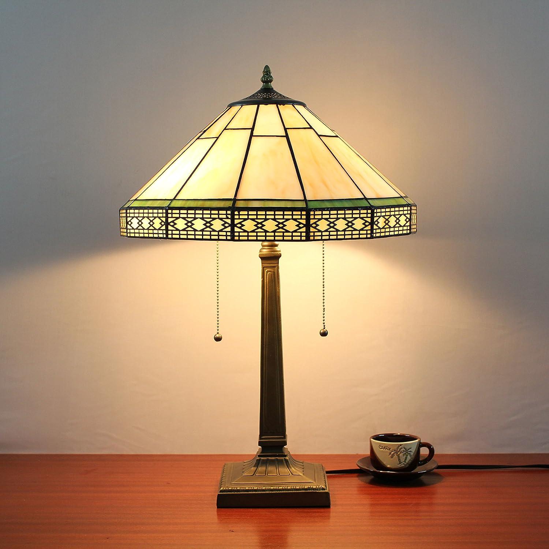 Europea Tiffany Lámpara de mesa de 16 pulgadas en blanco antiguo ...