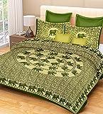 RajasthaniKart® Comfort Rajasthani Jaipuri Traditional Sanganeri Print 144 TC Cotton Double Bedsheet with 2 Pillow Covers - King