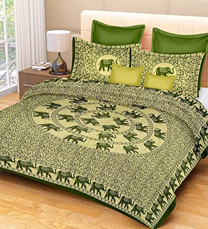 RajasthaniKart Classic Feather 144 TC Cotton Double Bedsheet with 2 Pillow Covers - Green