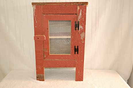 Amish Old Barn Wood Cabinet With A Screened Front, 18x9x29 Inch, Colors May