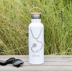 Engraved Nurse Water Bottle - 25 ounces (750ml) Premium Double Wall Insulated Vacuum Elemental Bottle - RN Gift