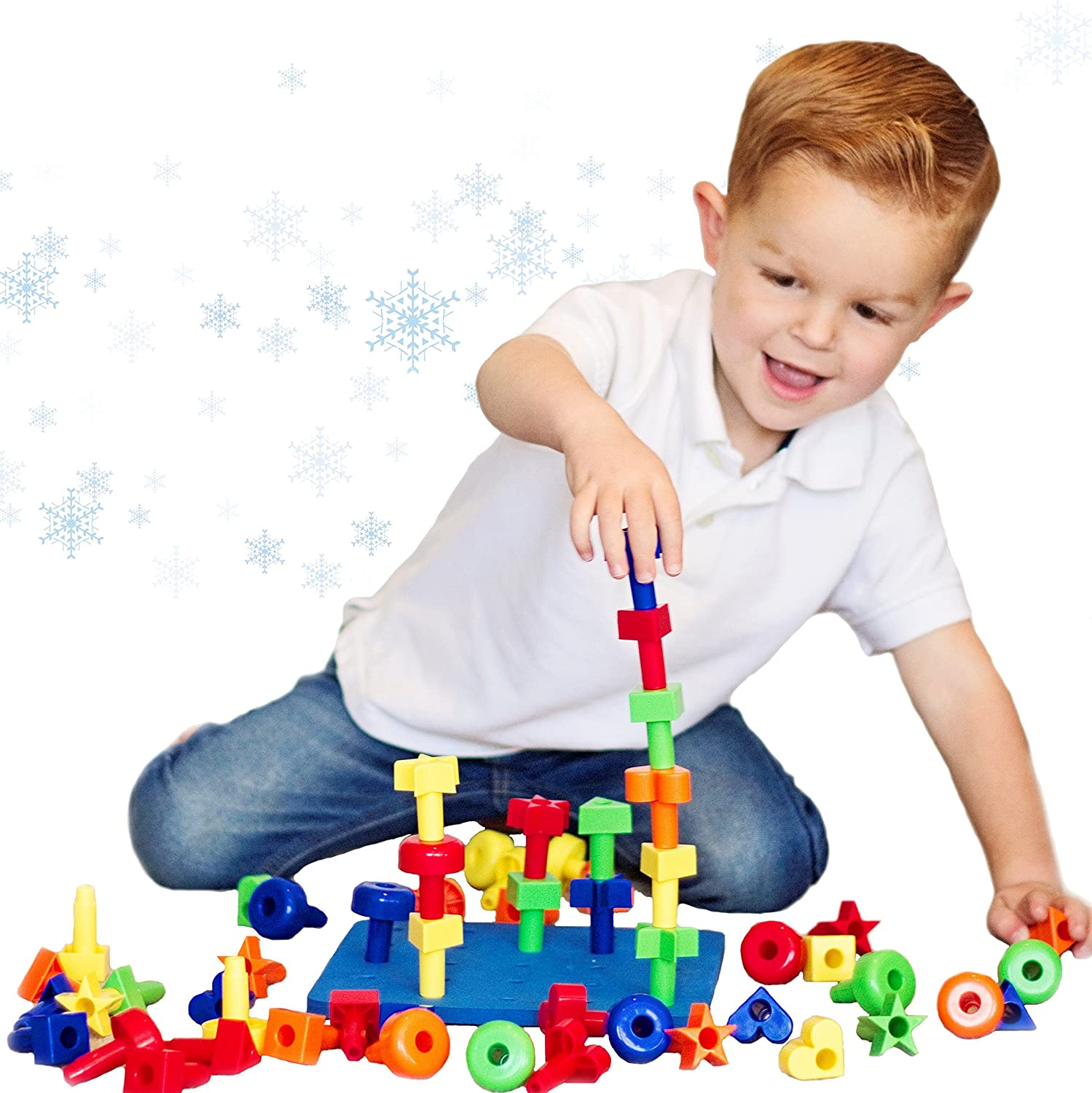 Amazon CC O Play 50pc Peg Board Stacking Toy for Toddlers