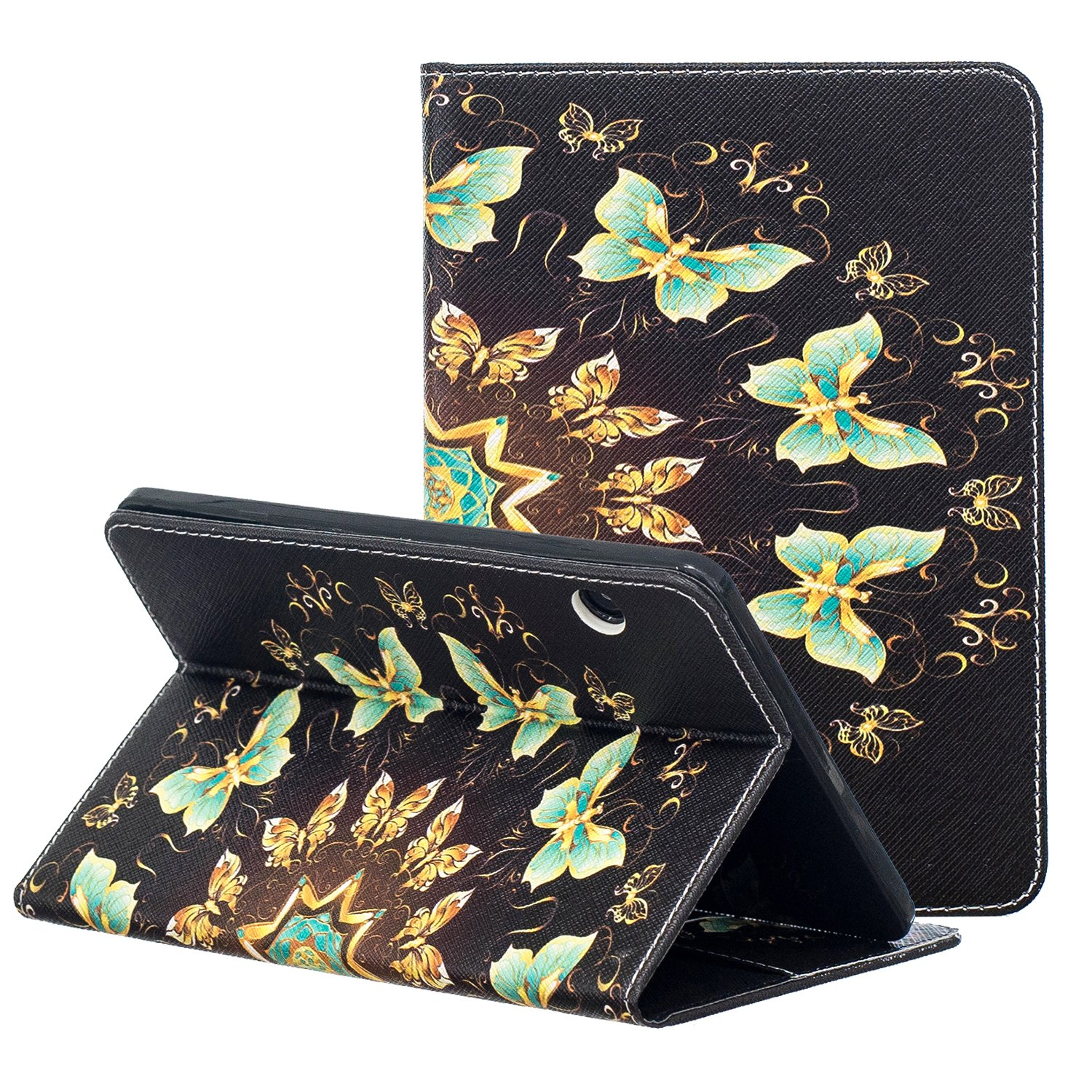 Kindle Voyage E-reader Case, ZAOX Colorful Painting Leather Stand Flip Folio Card Holder Shell Slim Wallet Case Auto Wake/Sleep Smart Protective Cover for Amazon Kindle Voyage 2014 (Green Butterfly)