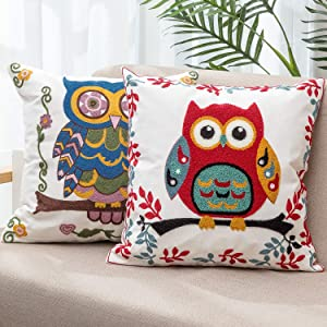 Embroidered Owl Throw Pillow Covers 18X18 Farmhouse Decorative for Living Room Outdoor Pillows for Patio Furniture Throw Pillows for Couch cojines decorativos para sala Christmas Fall Decor for Home