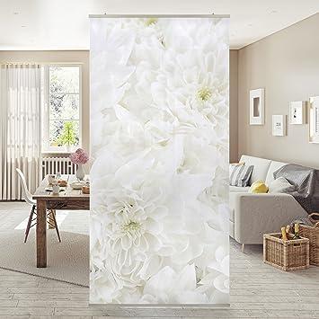 Schiebevorhänge Als Raumteiler flächenvorhang set dahlien blumenmeer weiß 250x120cm