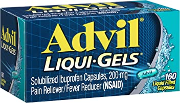 Advil Liqui-Gels (160 Count) Pain Reliever/Fever Reducer Liquid Filled Capsule, 200mg Ibuprofen, Temporary Pain Relief