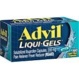 Advil Liqui-Gels Pain Reliever / Fever Reducer Liquid Filled Capsule, 200mg Ibuprofen, Temporary Pain Relief (160 Count)