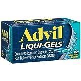 Advil Liqui-Gels Pain Reliever / Fever Reducer Liquid Filled Capsule, 200mg Ibuprofen, Temporary Pain Relief (160 Count)