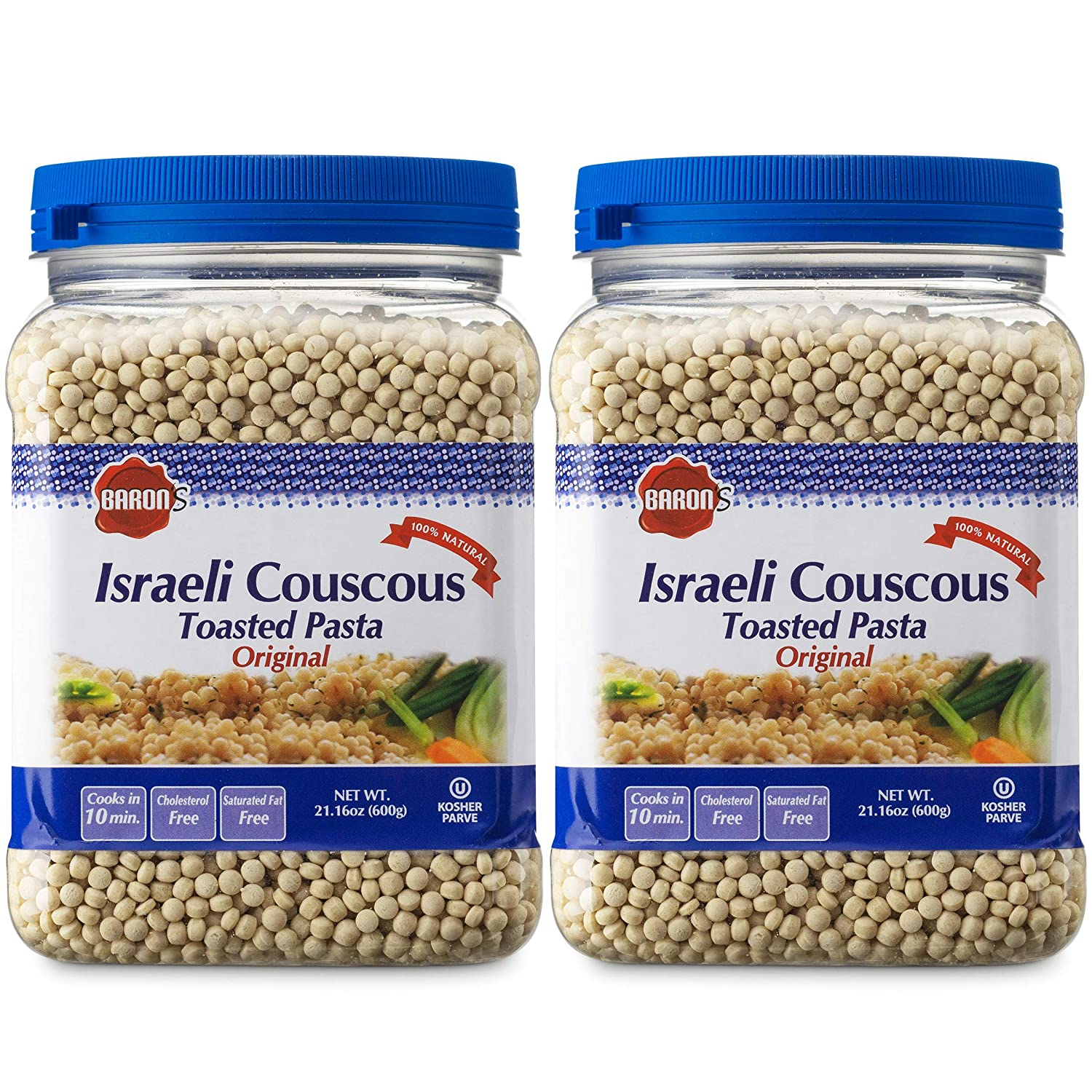 Amazon Com Baron S Original Israeli Couscous Toasted Pasta 100 Natural Pearled Noodles For Salads Soups Side Dishes Cooks In 10 Minutes Kosher 2 Pack 21 16oz Jars Dried Couscous Grocery Gourmet Food